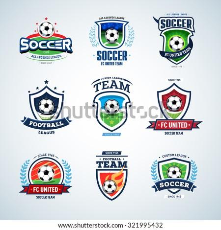 soccer logo templates set football logotypes stock vector royalty
