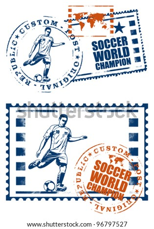 soccer mail stamp with player - stock vector