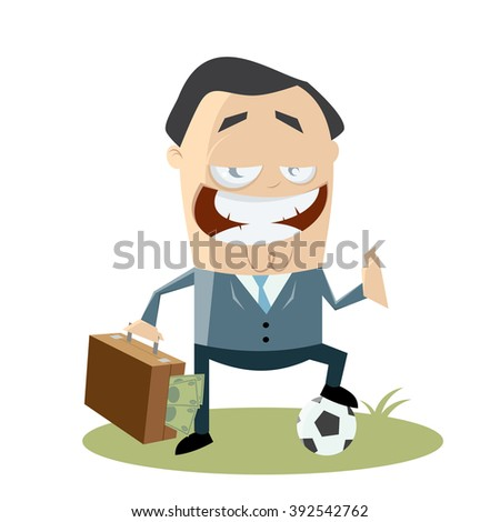 soccer manager with money in his bag - stock vector