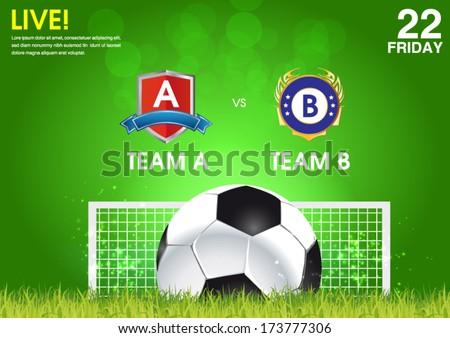 soccer match announcement poster - stock vector