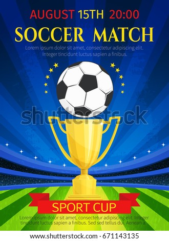 Soccer Match Poster Football Championship Tournament Stock Vector