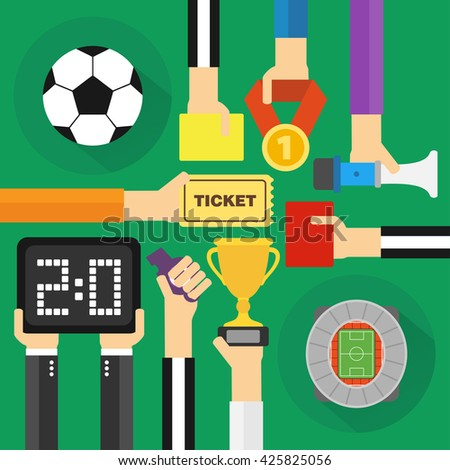 Soccer modern flat design.Vector illustration - stock vector