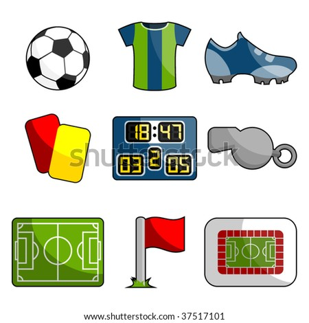 soccer object icon set - stock vector