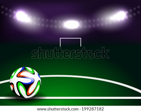 Soccer or football ball in circle on green background - stock vector