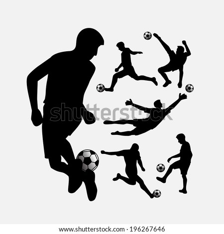 Soccer player action silhouettes with ball set for your design - stock vector