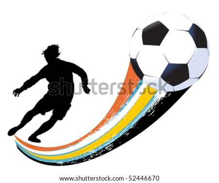 soccer player and ball - stock vector