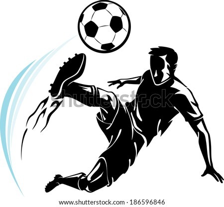 Soccer Player and his power kick - stock vector