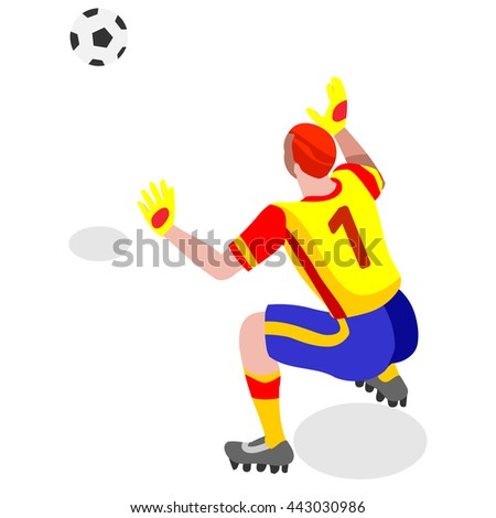 Soccer Player. Athlete Football Goalkeeper Block World Soccer Championship. Concept of olympics Spirit. Football Match International Competition. Euro European Cup insight. Copa America Vector Image