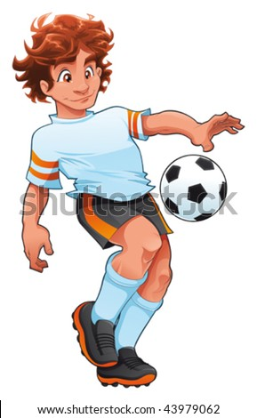 Soccer Player. Cartoon and vector sport character, isolated objects - stock vector