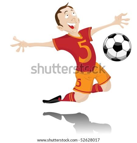 Soccer Player Celebrating Goal. Editable Vector Image - stock vector