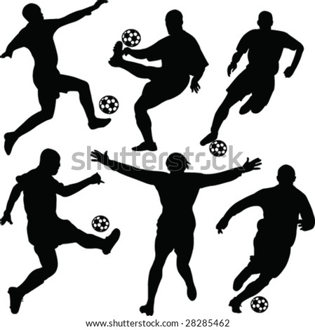 soccer player collection -vector - stock vector