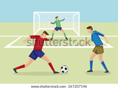 Soccer player dribbling soccer ball in soccer field in front of goalkeeper and goalpost. Vector cartoon illustration for soccer sports. - stock vector