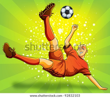 Soccer Player Flying Shooting a Ball (EPS 10 file version) - stock vector
