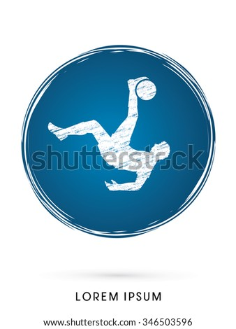 Soccer player hit the ball, Bicycle Kick designed on grunge circle background graphic vector. - stock vector