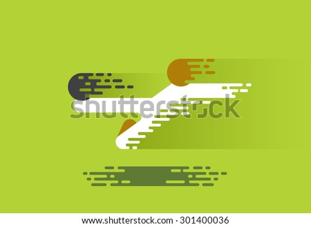 soccer player hits the ball in a jump. flat style with simulated motion oval lines - stock vector