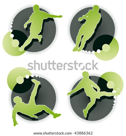 Soccer player icon set on white background - stock vector