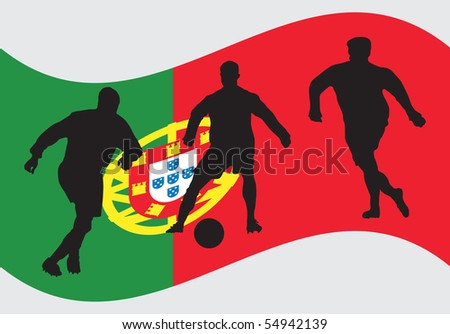 Soccer player in front of Portugal flag