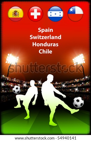 Soccer Player in Global Soccer Event Original Illustration - stock vector