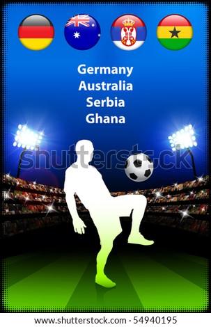 Soccer Player in Global Soccer Event Original Illustration - stock vector