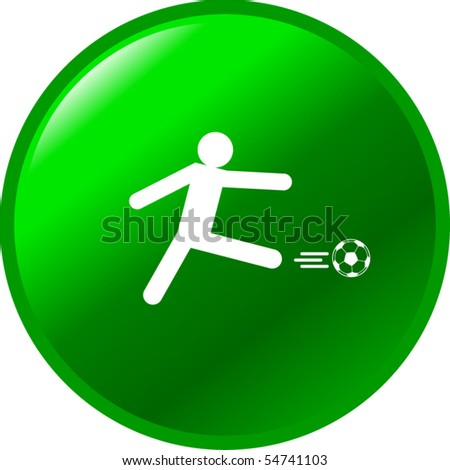 soccer player kick button - stock vector