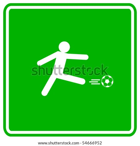 soccer player kick sign - stock vector