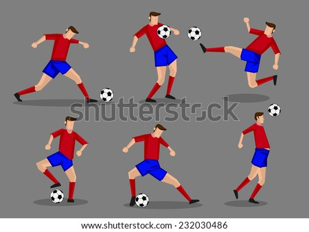 Soccer player kicking, passing, heading and shooting soccer ball poses. Six vector characters isolated on grey background. - stock vector