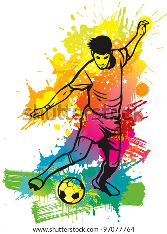 Soccer player kicks the ball - stock vector