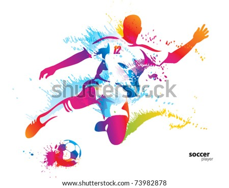 Soccer player kicks the ball. The colorful vector illustration with drops and spray. - stock vector