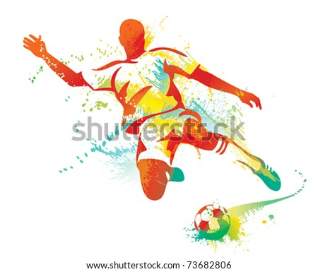 Soccer player kicks the ball. Vector illustration. - stock vector