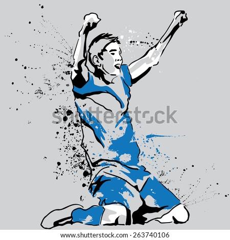 Soccer player kneeling and screaming. Winner. Sportsman - stock vector