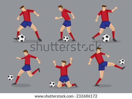 Soccer player passing and dribbling soccer ball. Vector illustration isolated on grey background. - stock vector