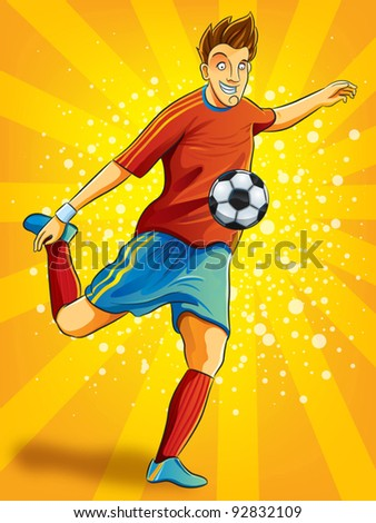 Soccer Player Shooting a Ball (EPS 10 file version) - stock vector