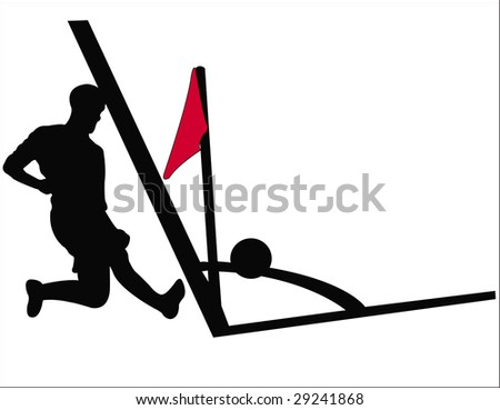 soccer player silhouette - stock vector