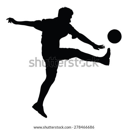 Soccer player silhouette vector isolated on white background. High detailed football player silhouette cutout outlines. Kicking a ball.