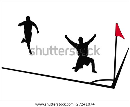 soccer player silhouettes - stock vector