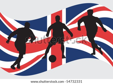 Soccer player silhouettes in front of England flag