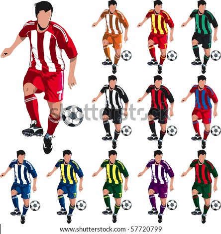 Soccer player with alternative shirt colors for designers. - stock vector