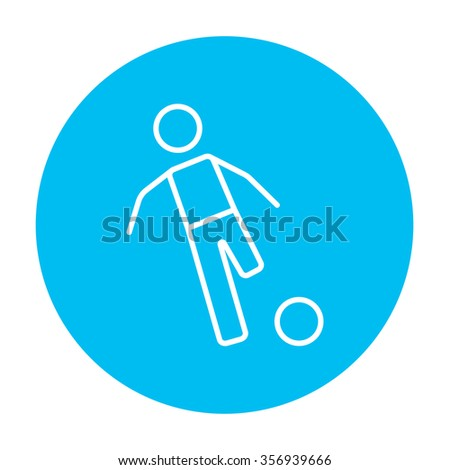 Soccer player with ball line icon for web, mobile and infographics. Vector white icon on the light blue circle isolated on white background. - stock vector