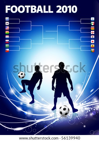 Soccer Player with Bracket on Abstract Light Background Original Illustration - stock vector