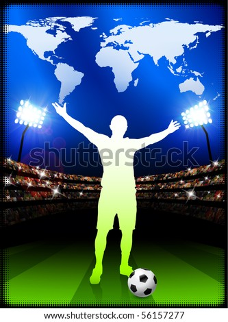Soccer Player with World Map on Stadium Background Original Illustration - stock vector