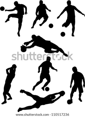 soccer players collection vector - stock vector