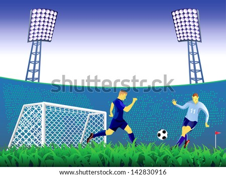 Soccer players fight. - stock vector