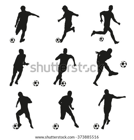 Soccer players, football players set. Collection of soccer silhouettes - stock vector