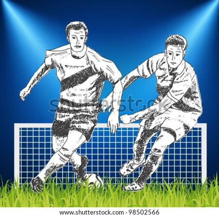 soccer players - hand-drawn illustration - stock vector