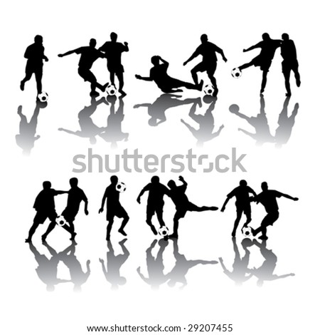 Soccer players in different poses - stock vector