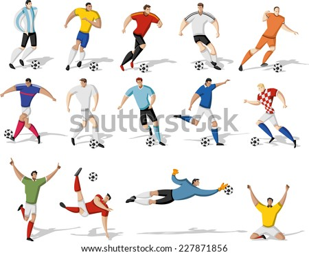 Soccer players kicking ball. Football players.  - stock vector