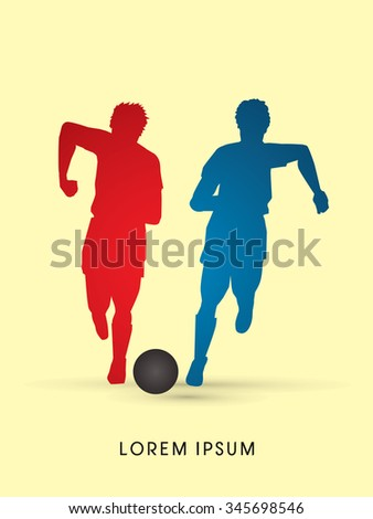 Soccer players, Running with ball, silhouette graphic vector - stock vector