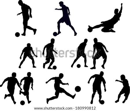 Soccer players silhouettes.