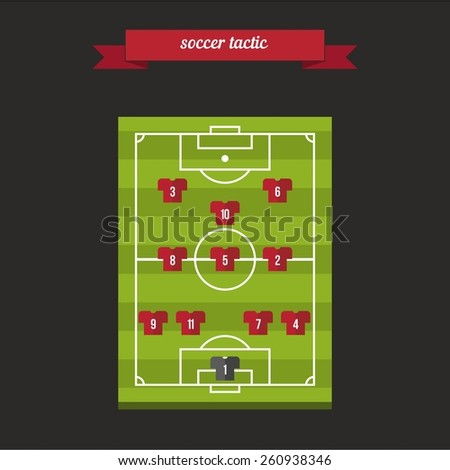 Soccer players team formation tactic. Flat style design - vector. - stock vector