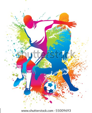 Soccer players with a soccer ball. Vector illustration. - stock vector